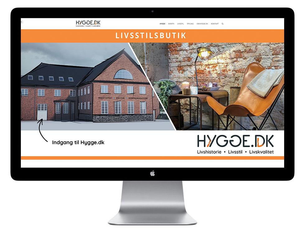 Firma Hjemmeside til Hygge, designet af Schmidt Grafisk